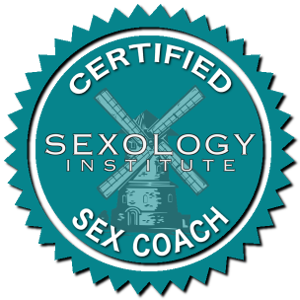 official certified sex coach seal from the sexology institute; seal is a turquoise circle with serrated edge and windmill logo in the center