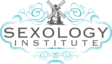sexology institute logo, a windmill and wispy blue lines