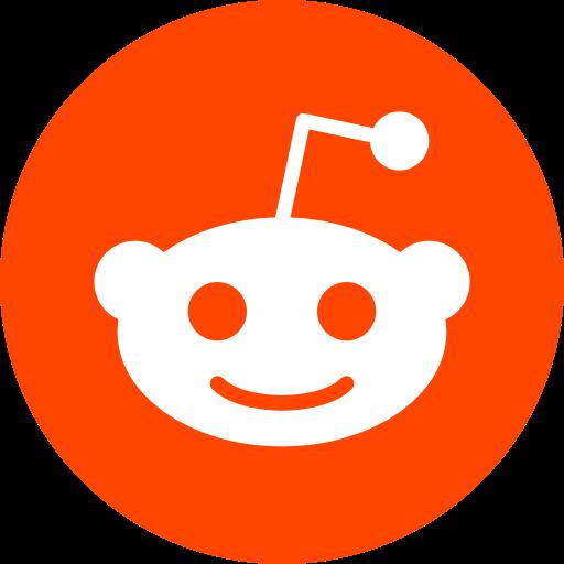 reddit logo; white alien head inside a red circle